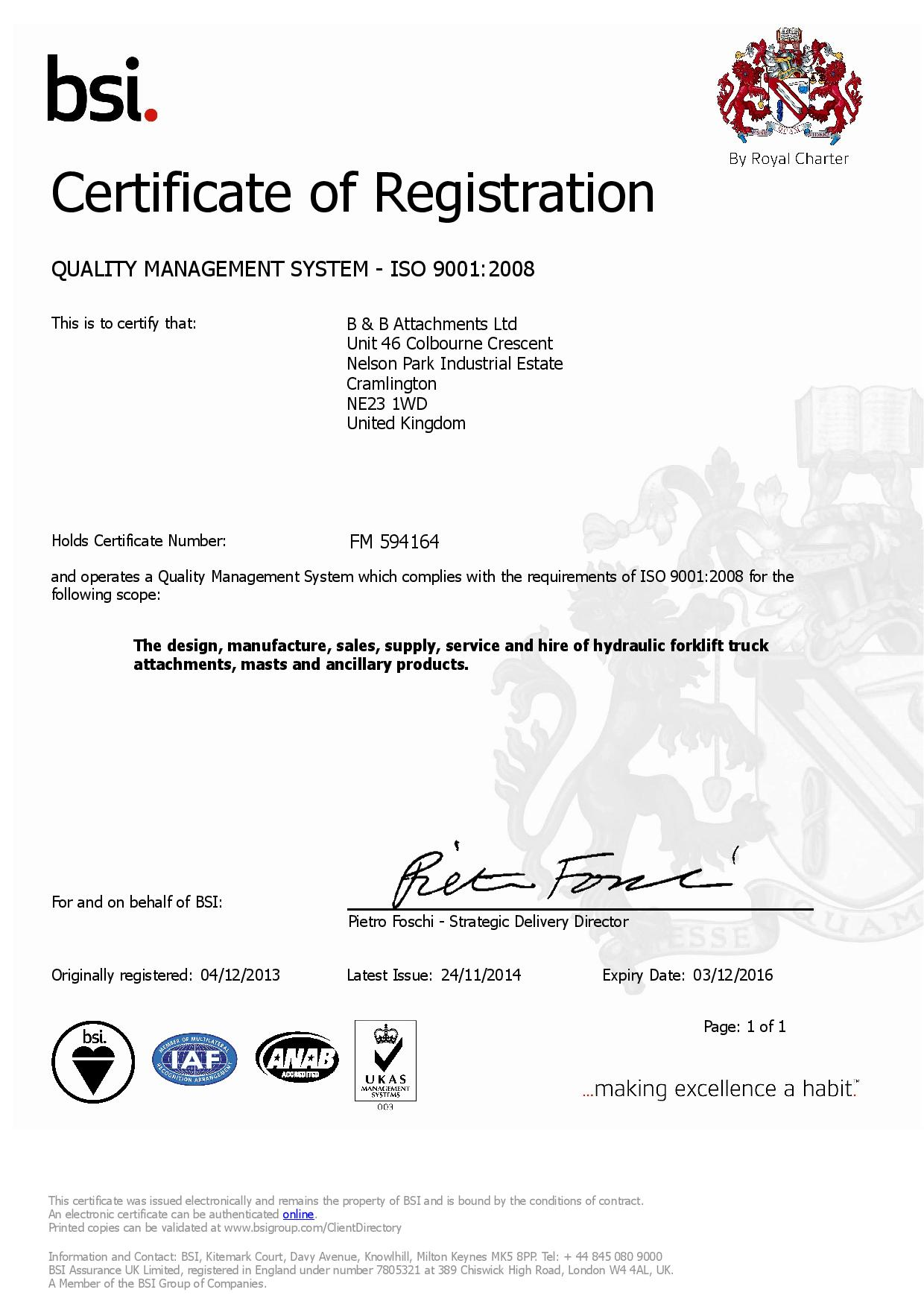 B&B Attachments successfully certified according to ISO 9001:2008